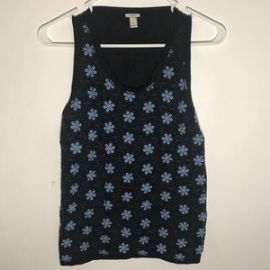 J. Crew floral top, navy blue
